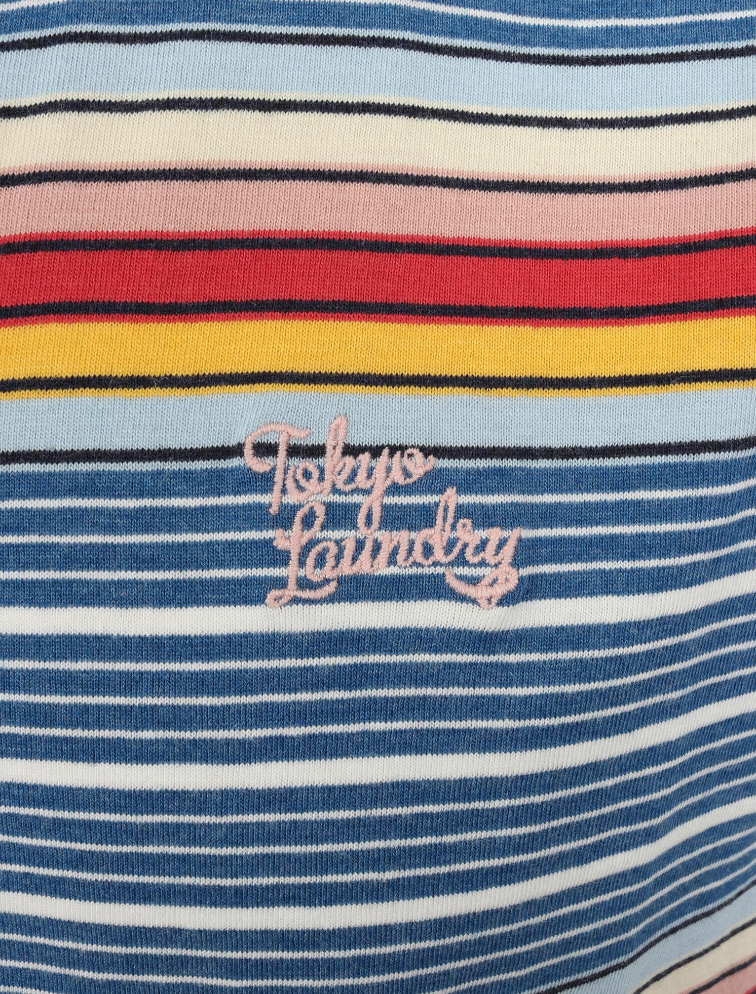 Tokyo-Laundry-Men-039-s-Lowell-Crew-Neck-Striped-T-Shirt-Stripy-Retro-Rainbow-Top thumbnail 5