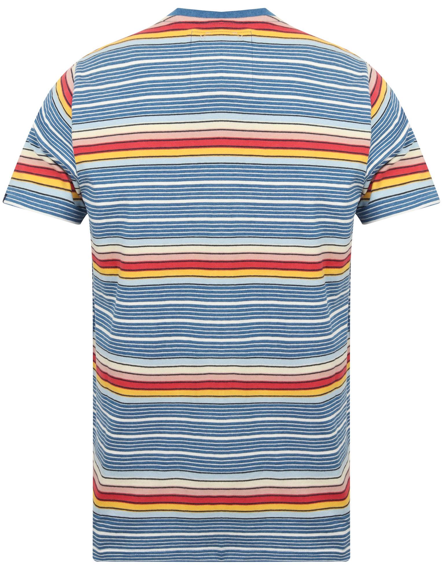 Tokyo-Laundry-Men-039-s-Lowell-Crew-Neck-Striped-T-Shirt-Stripy-Retro-Rainbow-Top thumbnail 3