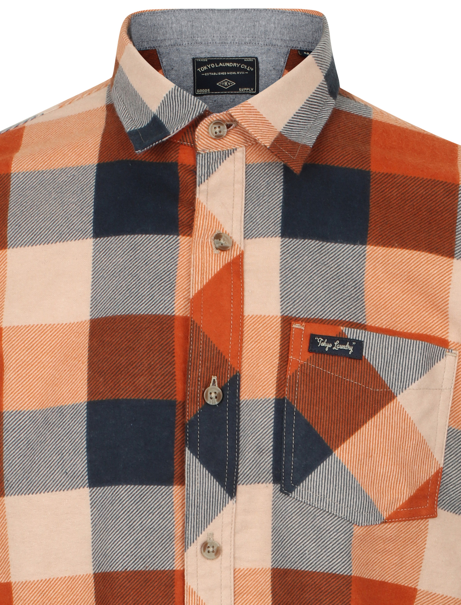 New-Mens-Tokyo-Laundry-Cotton-Long-Sleeve-Checked-Flannel-Shirt-Size-S-XXL thumbnail 21