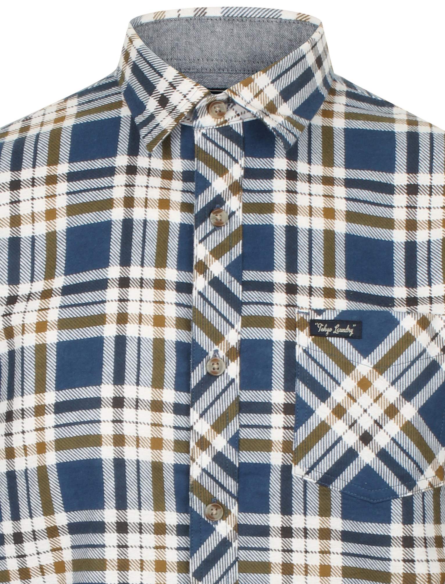 New-Mens-Tokyo-Laundry-Cotton-Long-Sleeve-Checked-Flannel-Shirt-Size-S-XL thumbnail 35