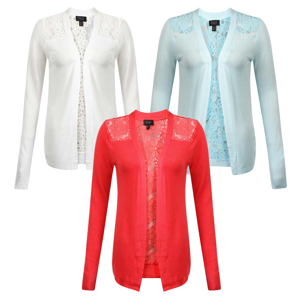 Womens Long Sleeve Open Boyfriend Pocket Cardigan Ladies Cardigan Size 8-16