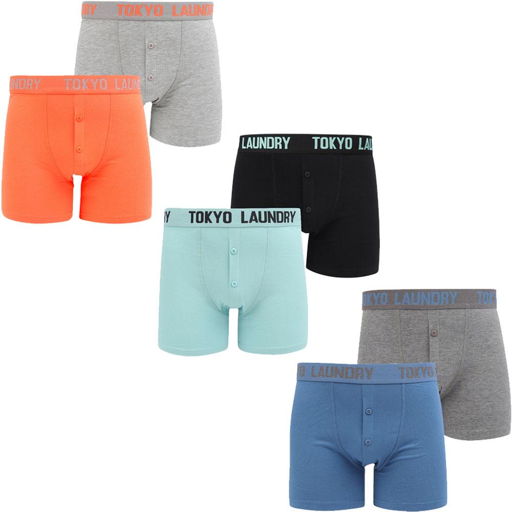 2 Pack Buttoned Cotton Rich Boxer Shorts Set Size S-XXL New Mens Tokyo Laundry