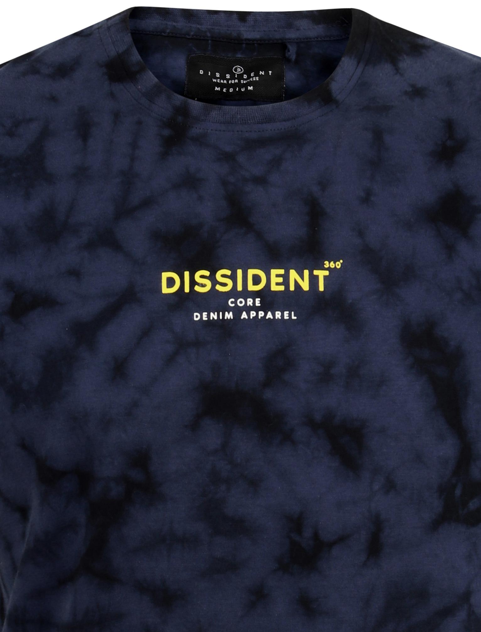 Dissident Mens Antos Cotton Tie Scrunch Dye T-Shirt Top Crew Neck Retro Festival