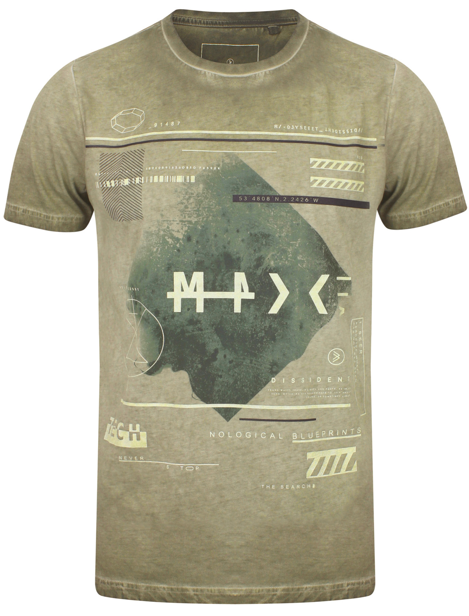 New-Mens-Dissident-Branded-Yasu-Crew-Neck-Cotton-Rich-Printed-T-Shirt-Size-S-XXL