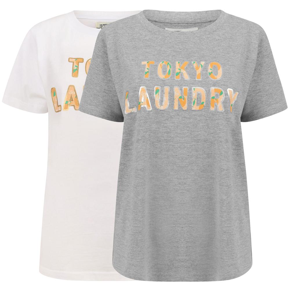 Tokyo Laundry Womens Malian Logo Print Cotton Crew Neck T