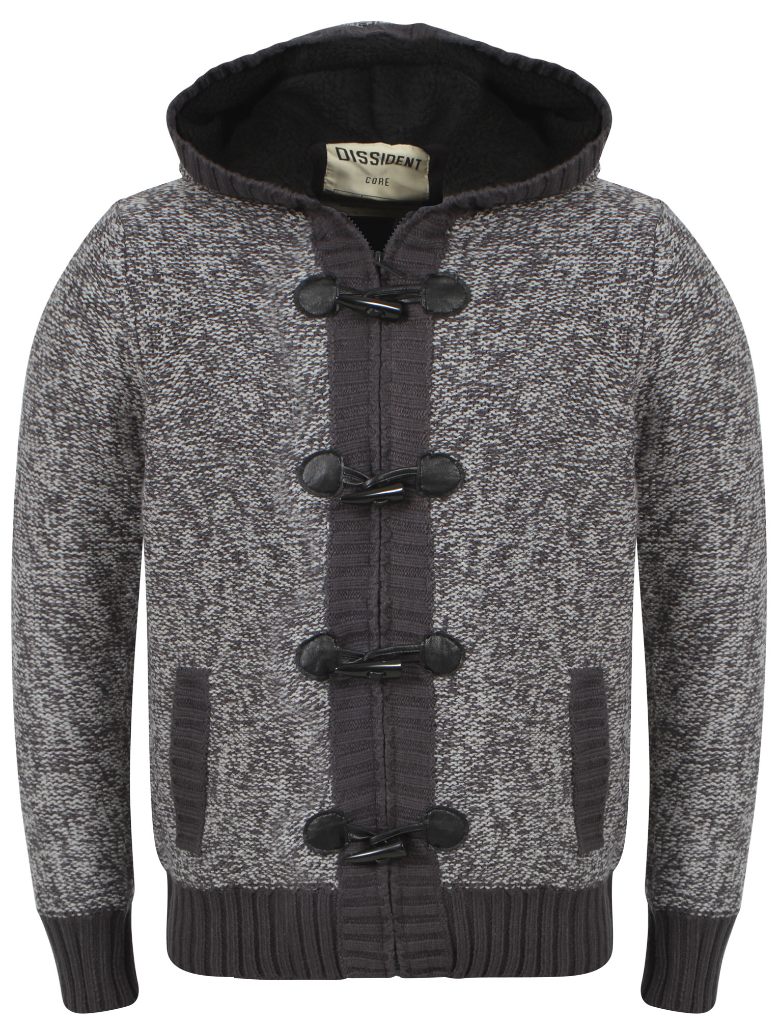 Picture 5 of 6 ... - Mens Dissident Mike Hooded Fleeced Knitted Zip Toggle Cardigan