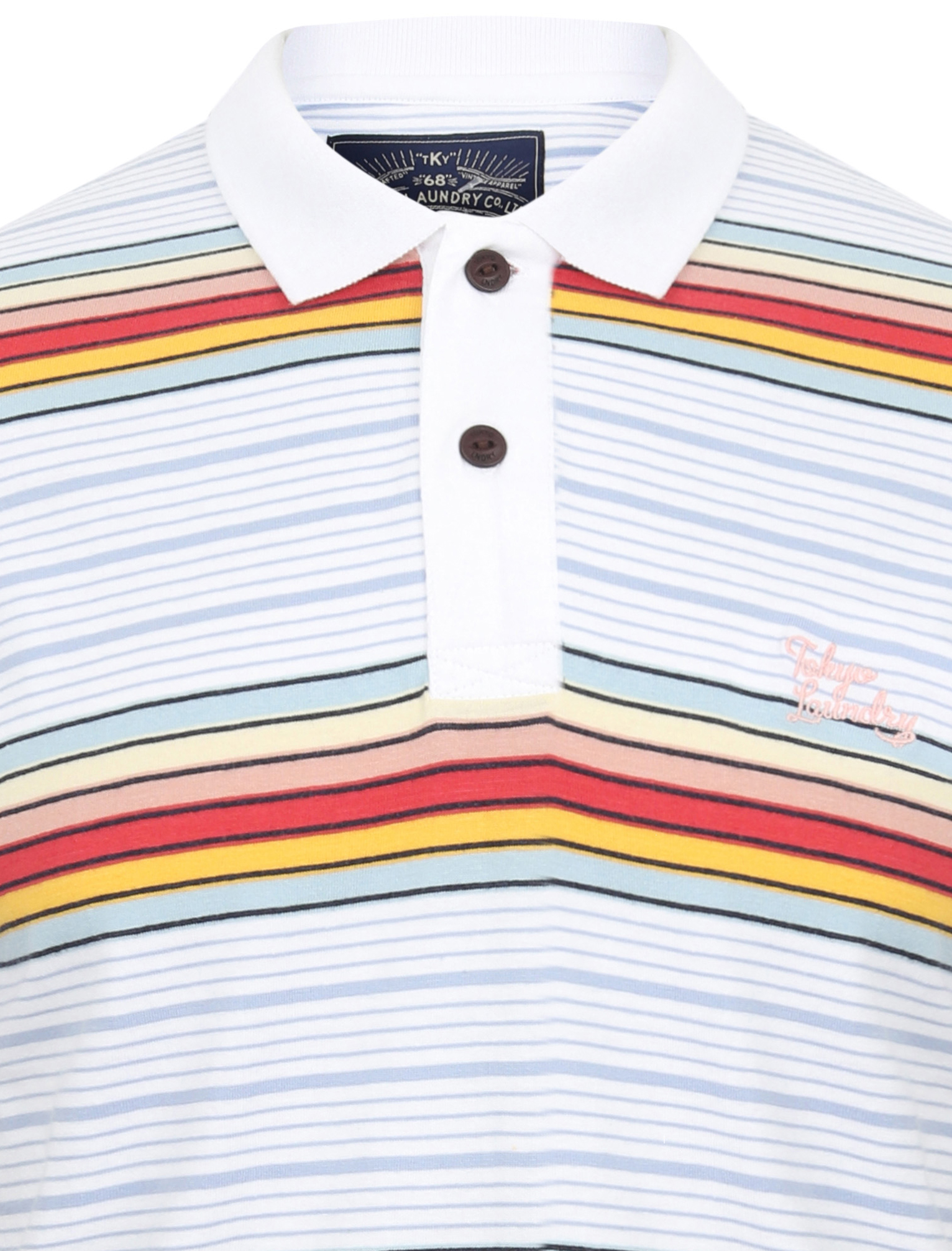 Tokyo-Laundry-Men-039-s-Bakersfield-Striped-Polo-Shirt-Stripy-Retro-Vintage-T-Shirt thumbnail 11