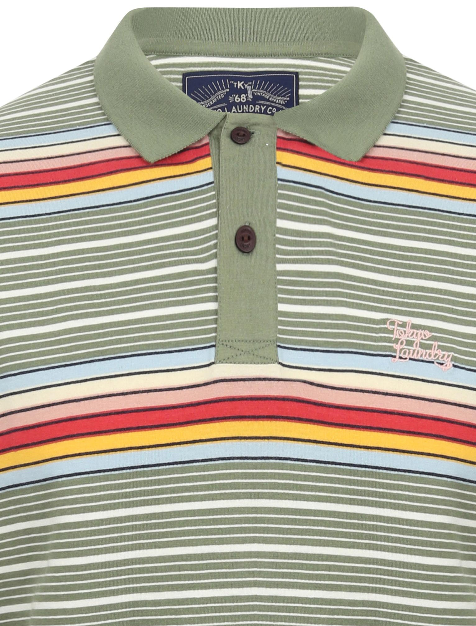 Tokyo-Laundry-Men-039-s-Bakersfield-Striped-Polo-Shirt-Stripy-Retro-Vintage-T-Shirt thumbnail 7