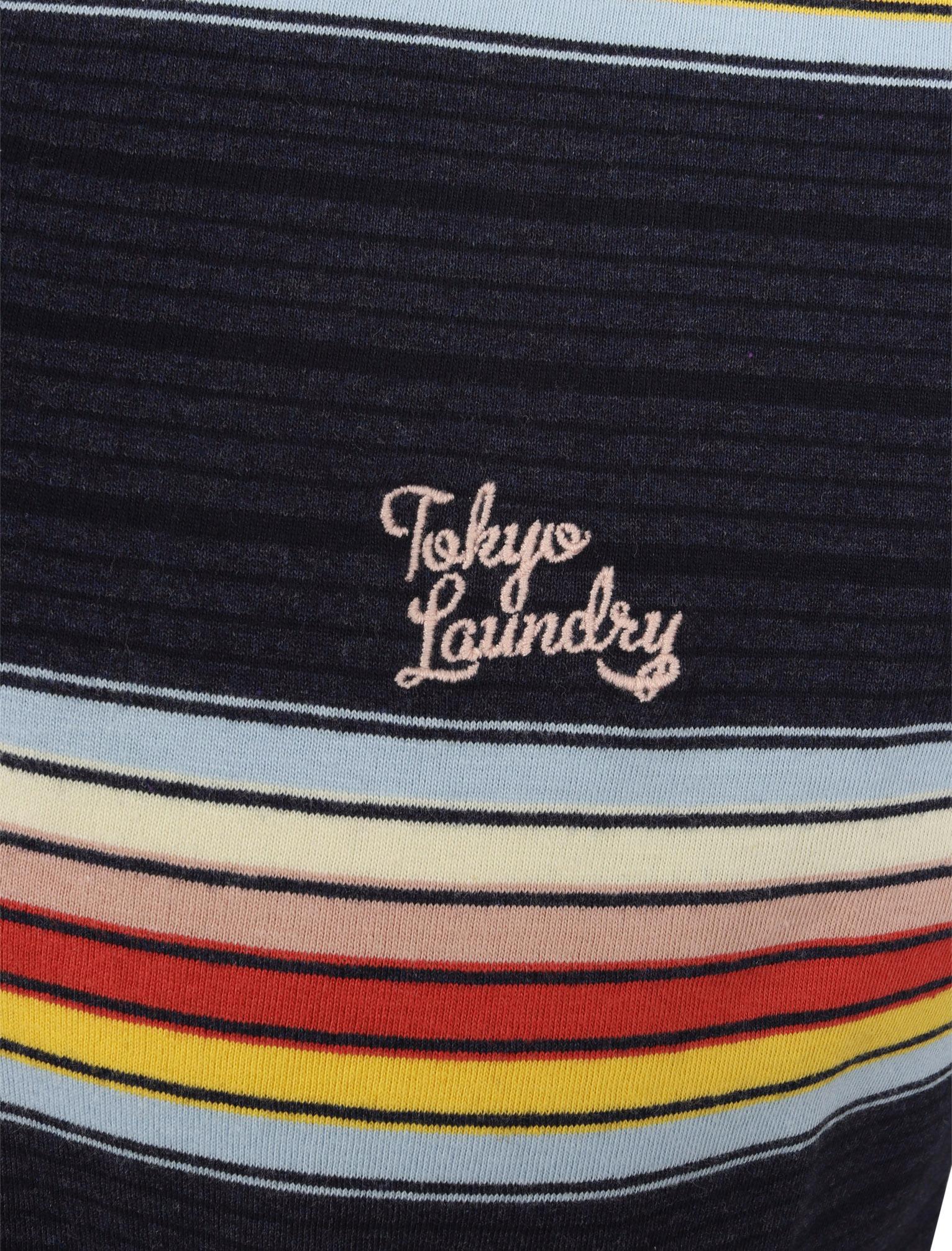 Tokyo-Laundry-Men-039-s-Bakersfield-Striped-Polo-Shirt-Stripy-Retro-Vintage-T-Shirt thumbnail 4