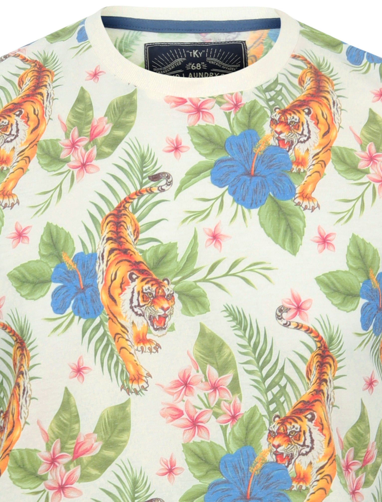 thumbnail 20 - Tokyo-Laundry-Tropical-Print-Crew-Neck-T-Shirt-Hawaiian-Floral-Summer-Holiday