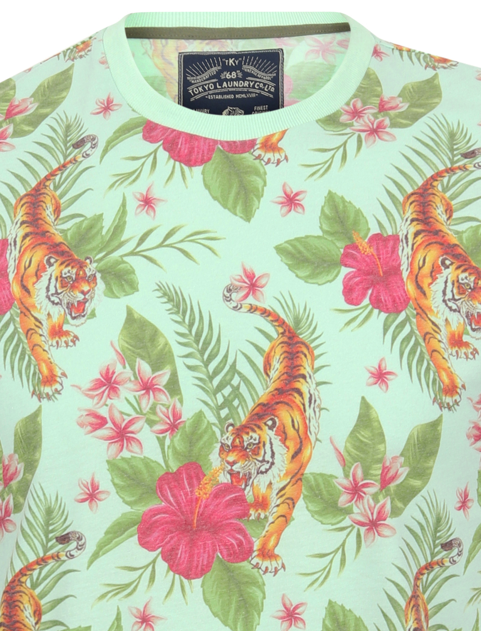 thumbnail 16 - Tokyo-Laundry-Tropical-Print-Crew-Neck-T-Shirt-Hawaiian-Floral-Summer-Holiday