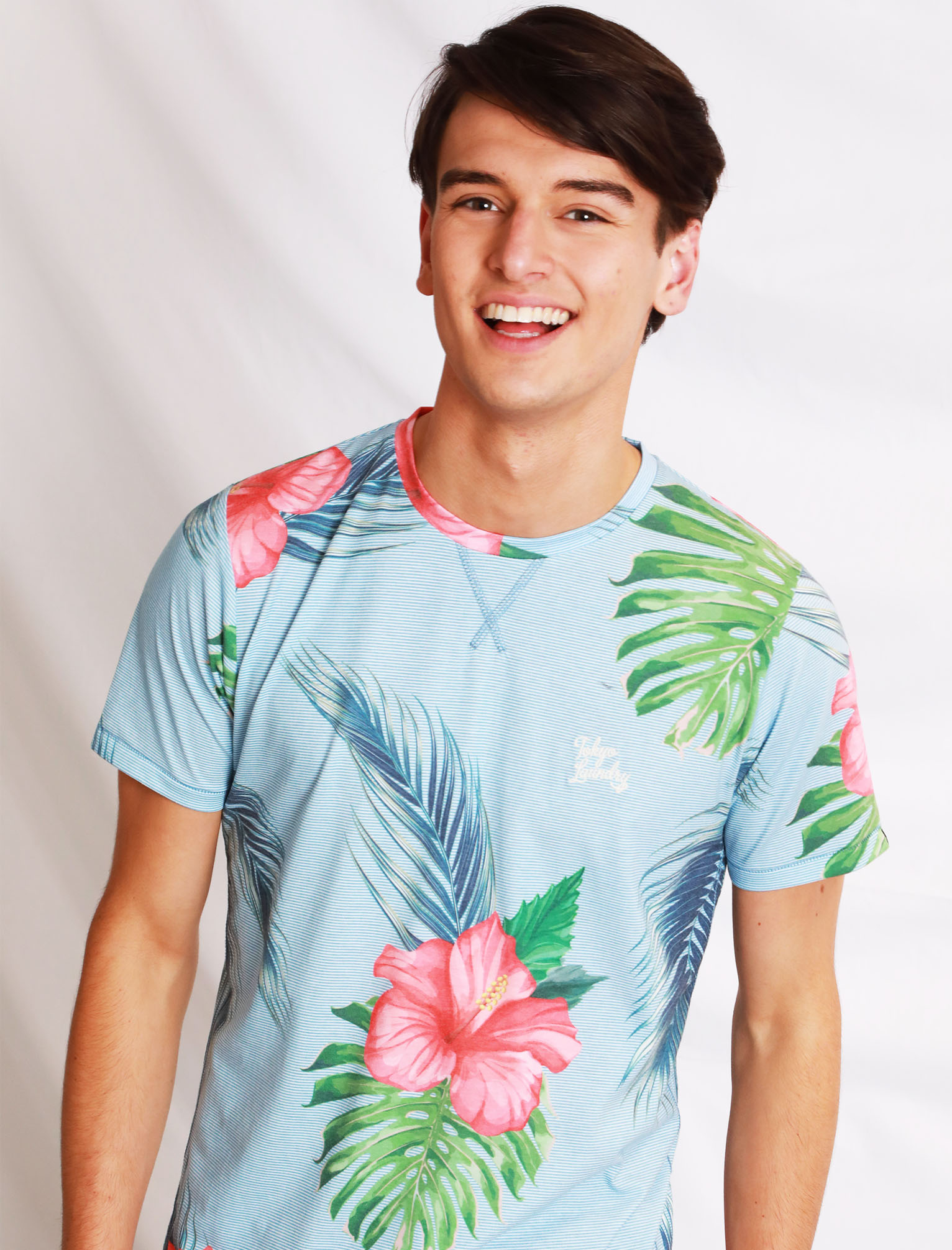 Tokyo-Laundry-Tropical-Print-Crew-Neck-T-Shirt-Hawaiian-Floral-Summer-Holiday thumbnail 30