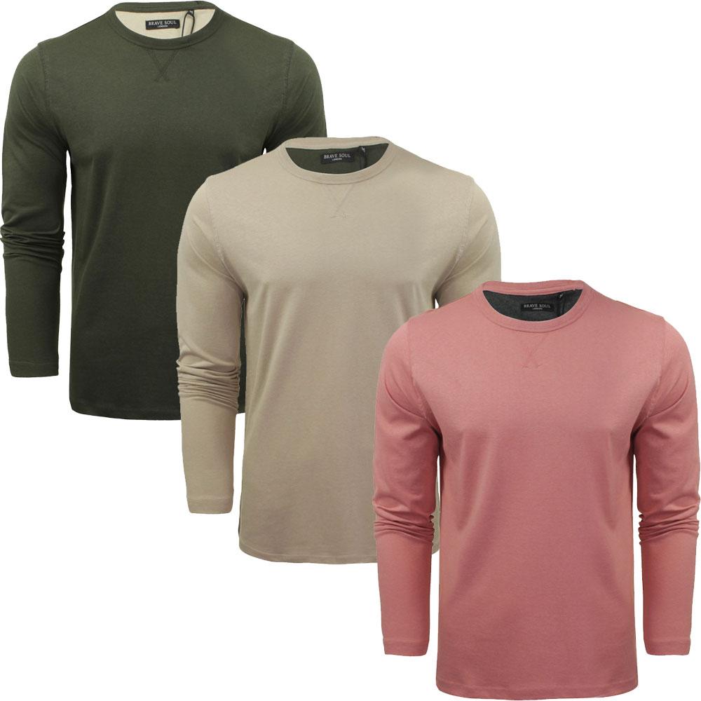 Mens Shirt Magnus Brave Soul Plain Long Sleeved Blend Cotton Casual Top S-XL
