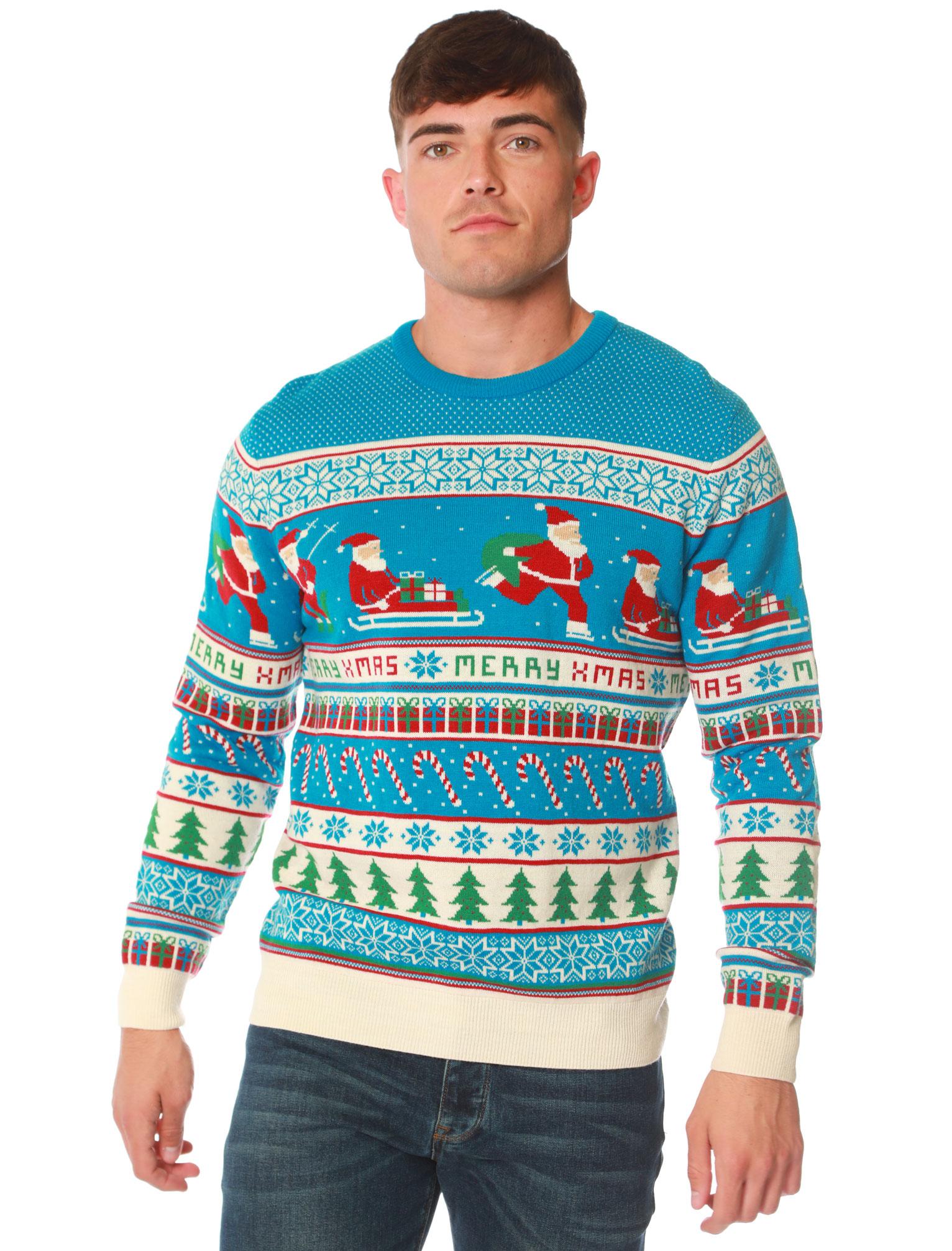Feliz-Navidad-Para-Hombre-Novedad-Navidad-Sueter-Santa-Elfo-Reno-divertido-Cerveza miniatura 118
