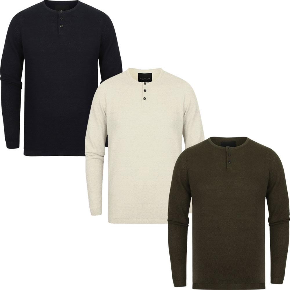 Mens Dissident Deluca Henley Textured Knitted Long Sleeve Jumper Top Size S-XXL