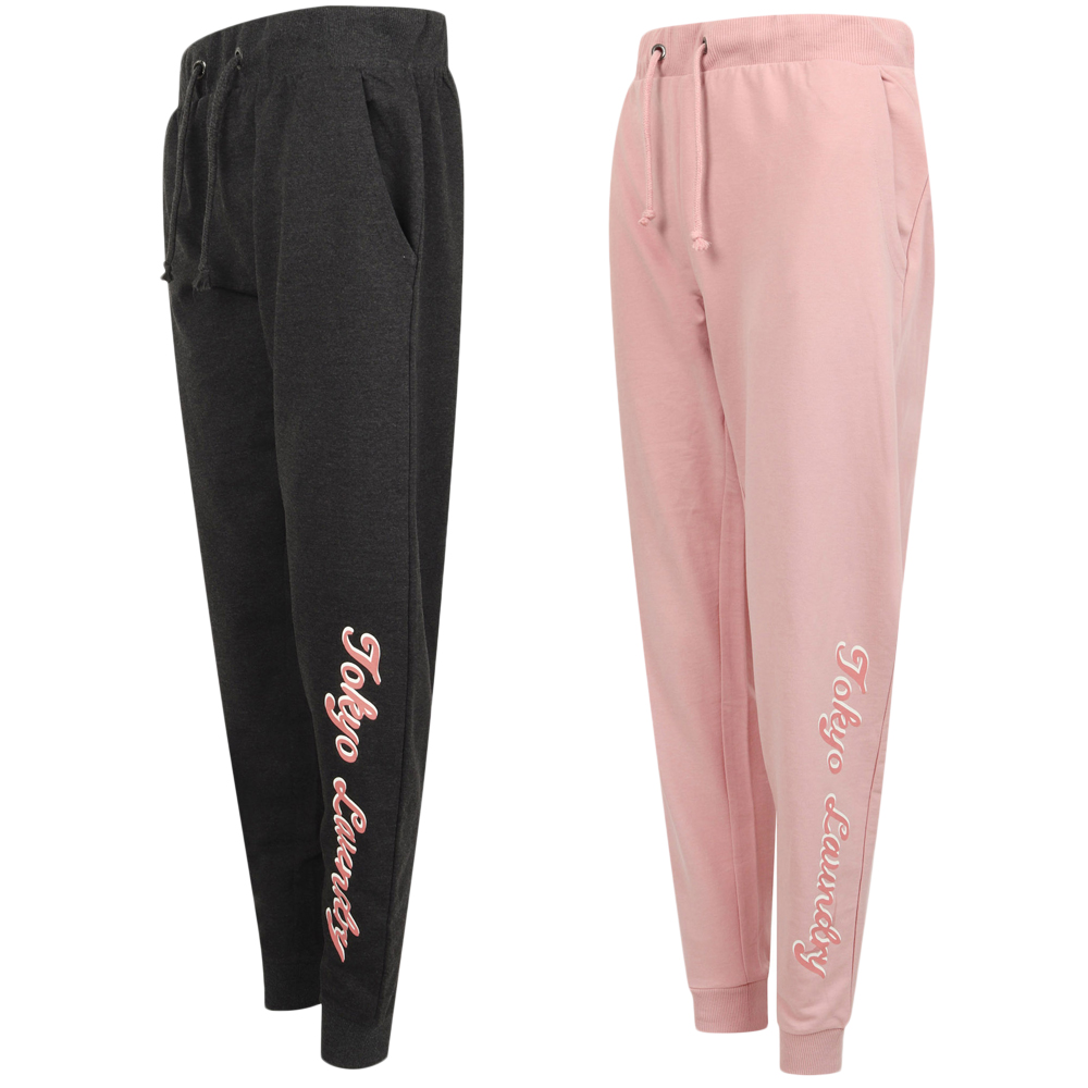 Womens Ladies Slim Leg Fit Cuffed Casual Joggers Track Suit Sweat Pants