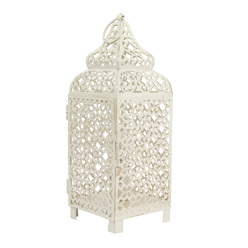 Moroccan Fretwork Panels: Shabby-Chic Moroccan Metal Fretwork Patterned Cream Table