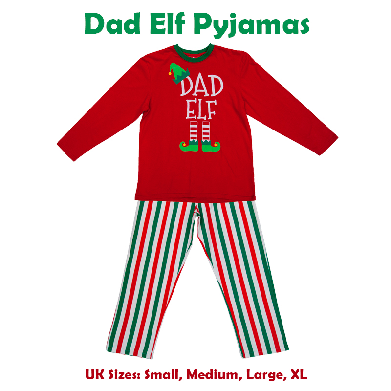 Christmas Red Elf Pyjamas Matching PJs Family Mum Dad Little Pet Elf Fancy  Dress 7088c53b0