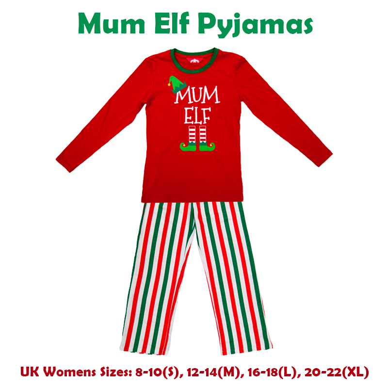 Christmas Red Elf Pyjamas Matching Pjs Family Mum Dad