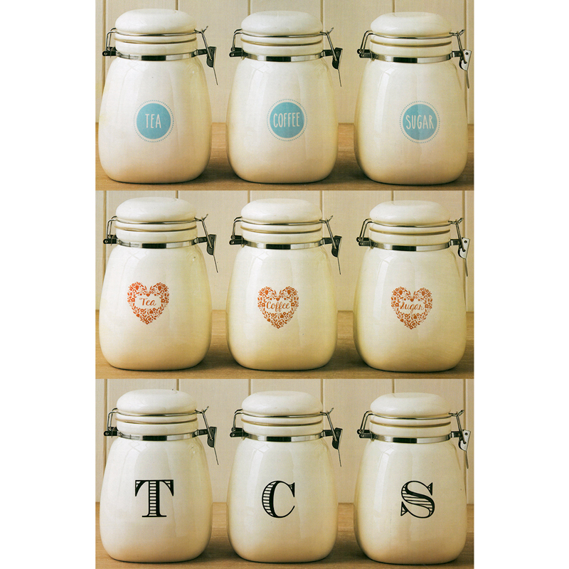 Vintage Retro Cream Tea Coffee Sugar Clip Lock Ceramic Kitchen Storage Jar  Set