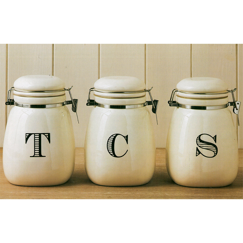 cream kitchen storage jars vintage retro tea coffee sugar clip lock ceramic 6283