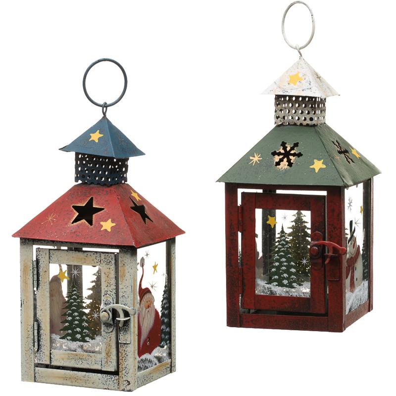 Small Metal Christmas Lantern Pillar Tealight Candle ...