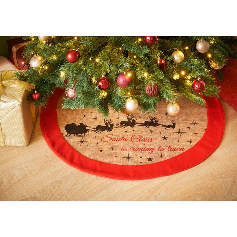 Rustic Luxury Jute Christmas Tree Skirt Mat Floor