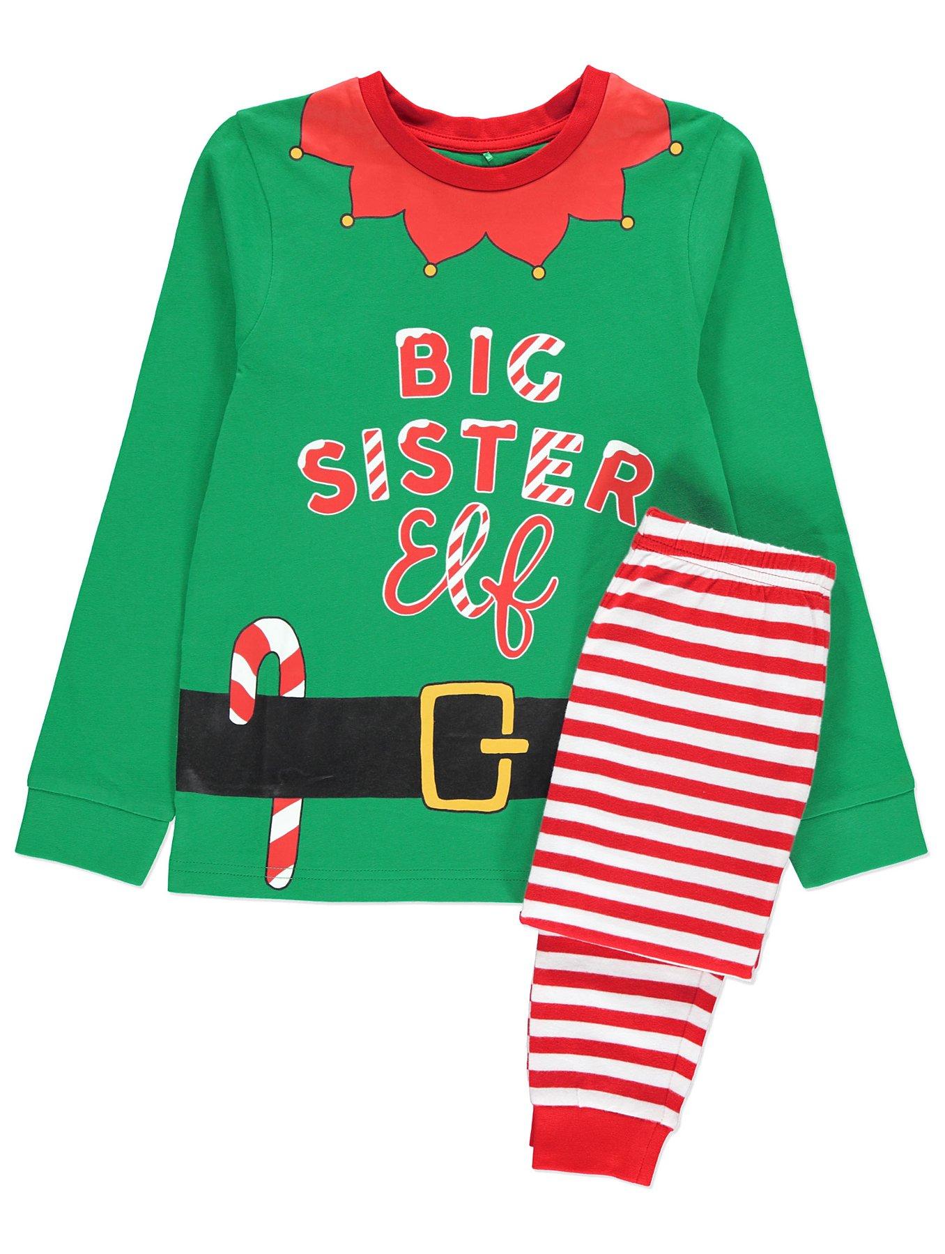 704305762 Family Elf Matching Christmas Pyjama PJ Set Sister Brother Dad Mum ...