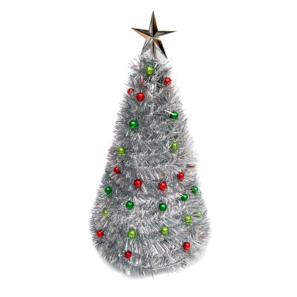 Decorated Pop-up Colourful Christmas Tree Tinsel/Baubles ...