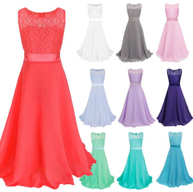 Girls Teen Retro Floral Lace Bodice Flowing Floor Length ...