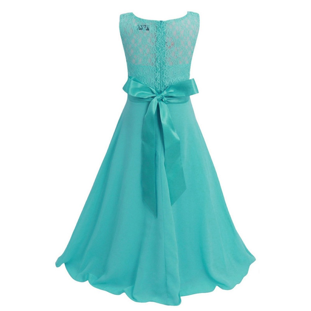Girls Teen Retro Floral Lace Bodice Flowing Floor Length