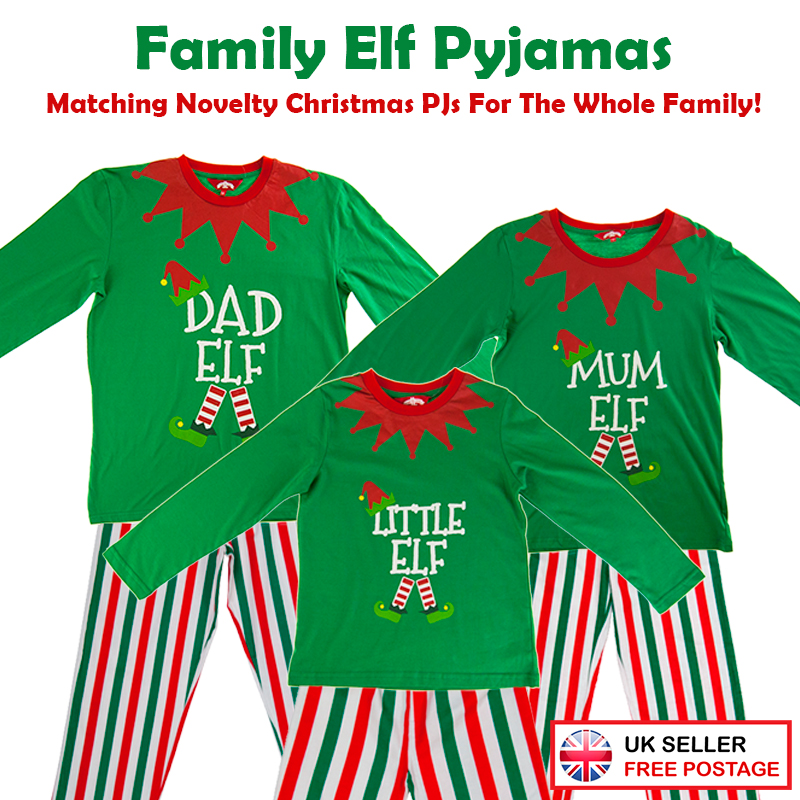 Christmas Green Elf Pyjamas Matching Family PJs Mum/Dad ...