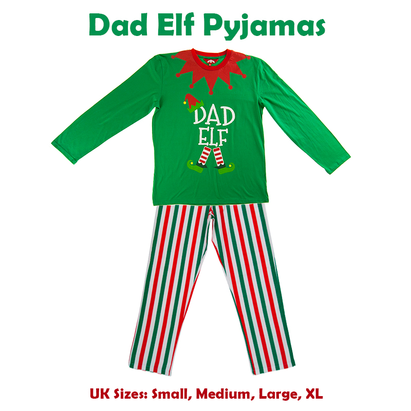 Christmas Green Elf Pyjamas Matching Family PJs Mum Dad Little Elf Fancy  Dress f1876cd70