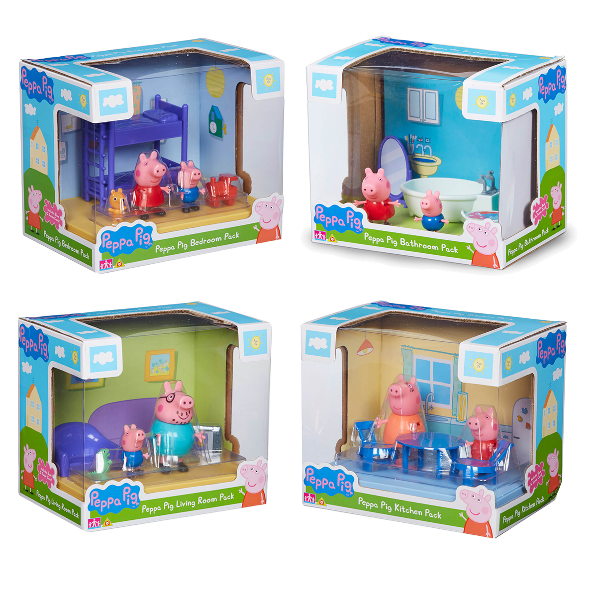 Details About Peppa Pig Mini Boxed Playset Toy Figure Living Room Bedroom Bathroom Kitchen