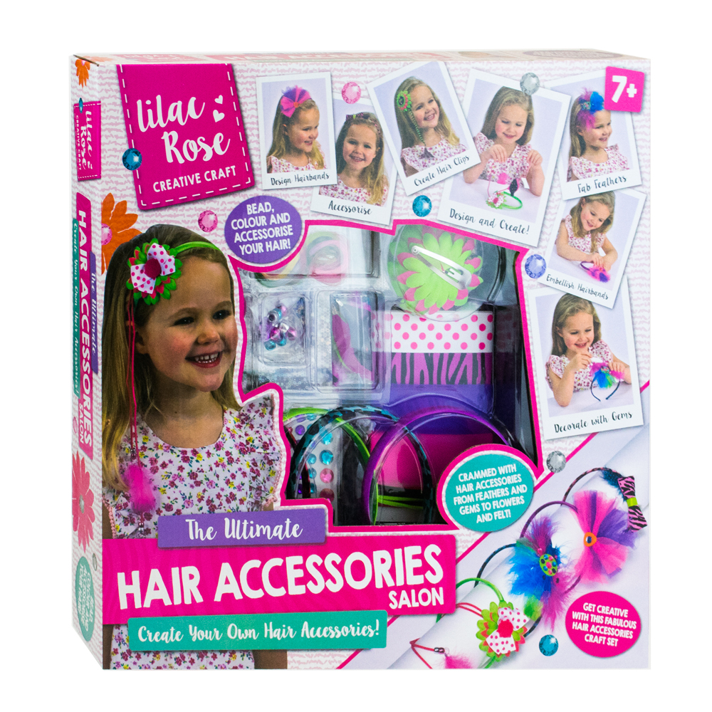 Lilac Rose The Ultimate Hair Accessories Salon Girls Creative Craft Kit NEW
