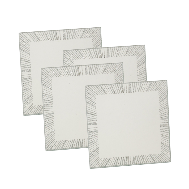 modern glass square mirror glitter dinner table set placemats coasters new ebay. Black Bedroom Furniture Sets. Home Design Ideas