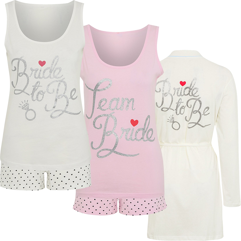 Ladies Wedding Engagement Hen Pj Pyjama Nightwear Set