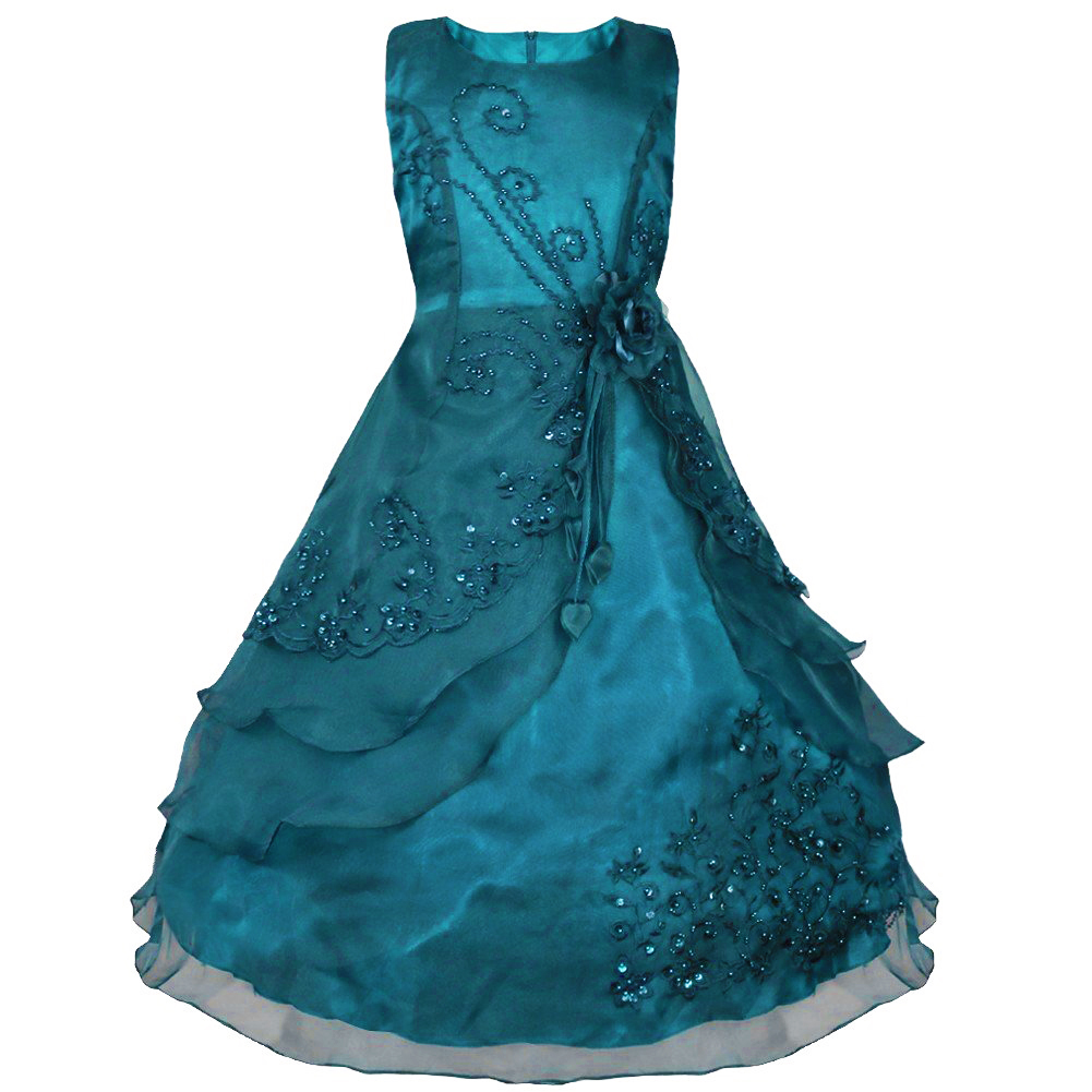Girls Flower Embroidered Formal Party Prom Dress Bridesmaid ...