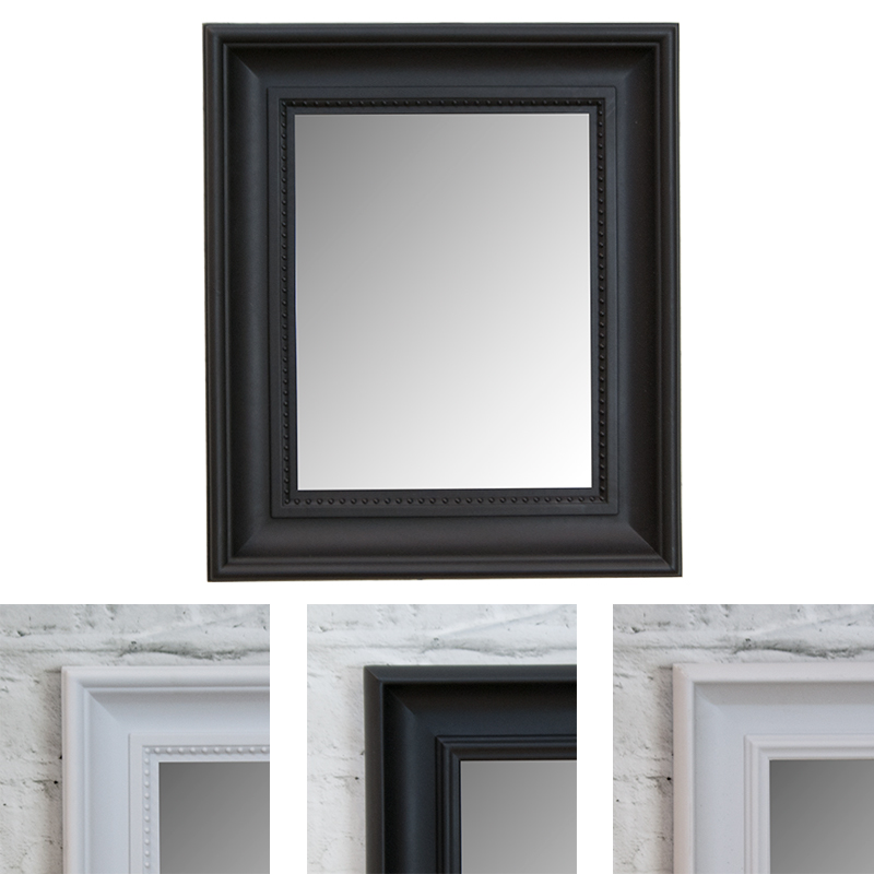 Bevelled Thick Framed Wall Hanging Mirror Rectangular 35x30cm Black ...