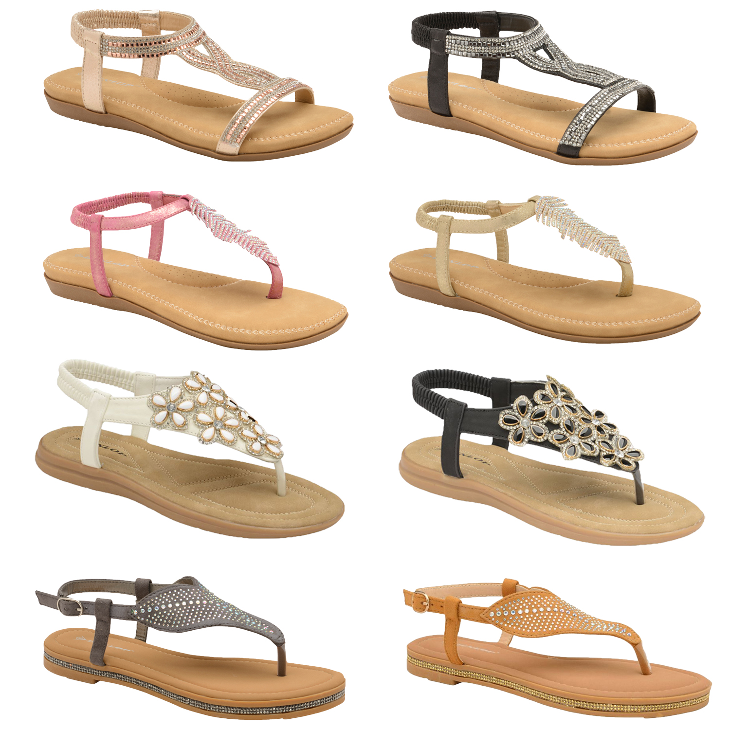 Ladies Dunlop Rue Diamante Leaf Sandals Thong Slingback Padded Cushioned Shoes