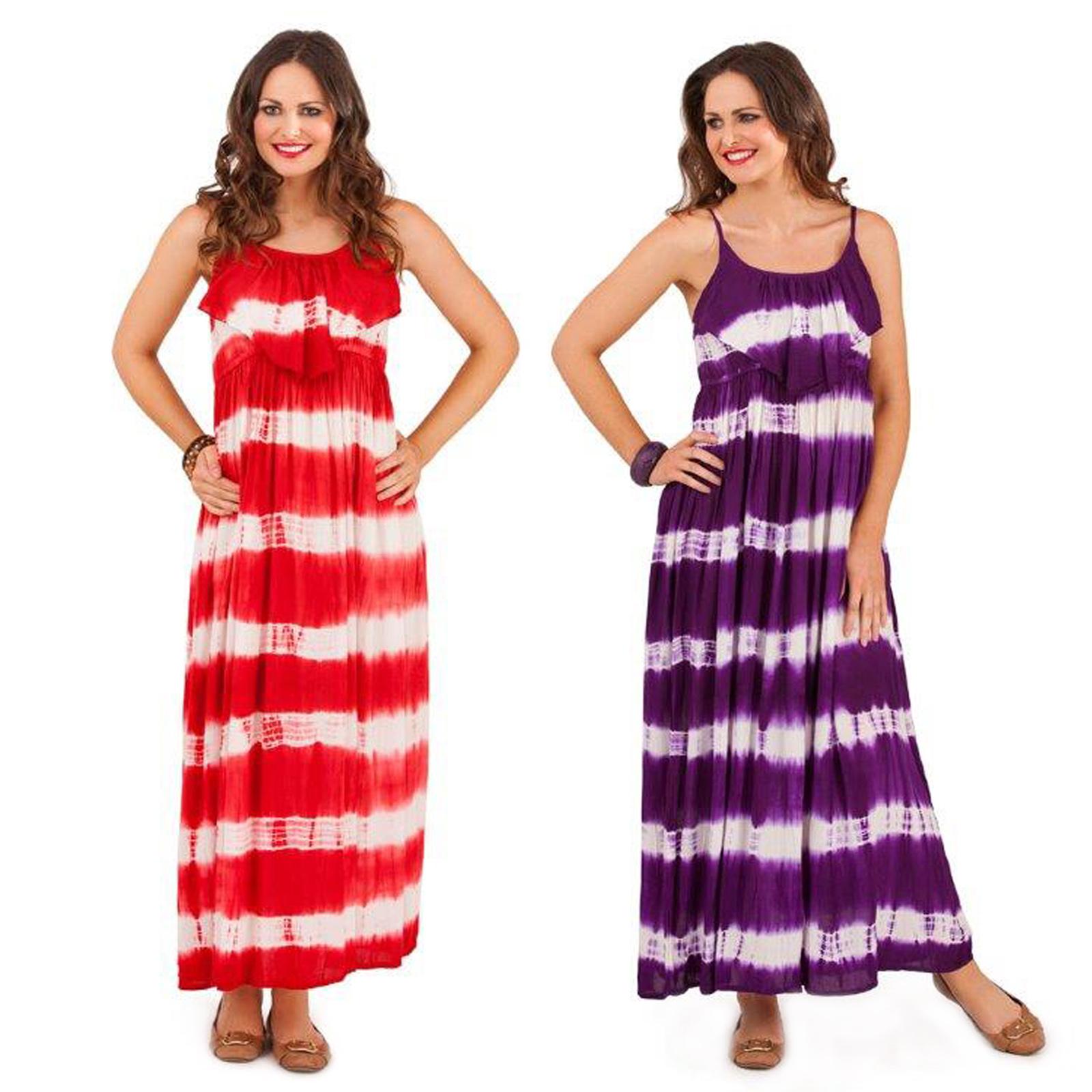 Pistachio Womens Tie Dye Sleeveless Maxi Or New Ladies Summer Beach Swing Dress