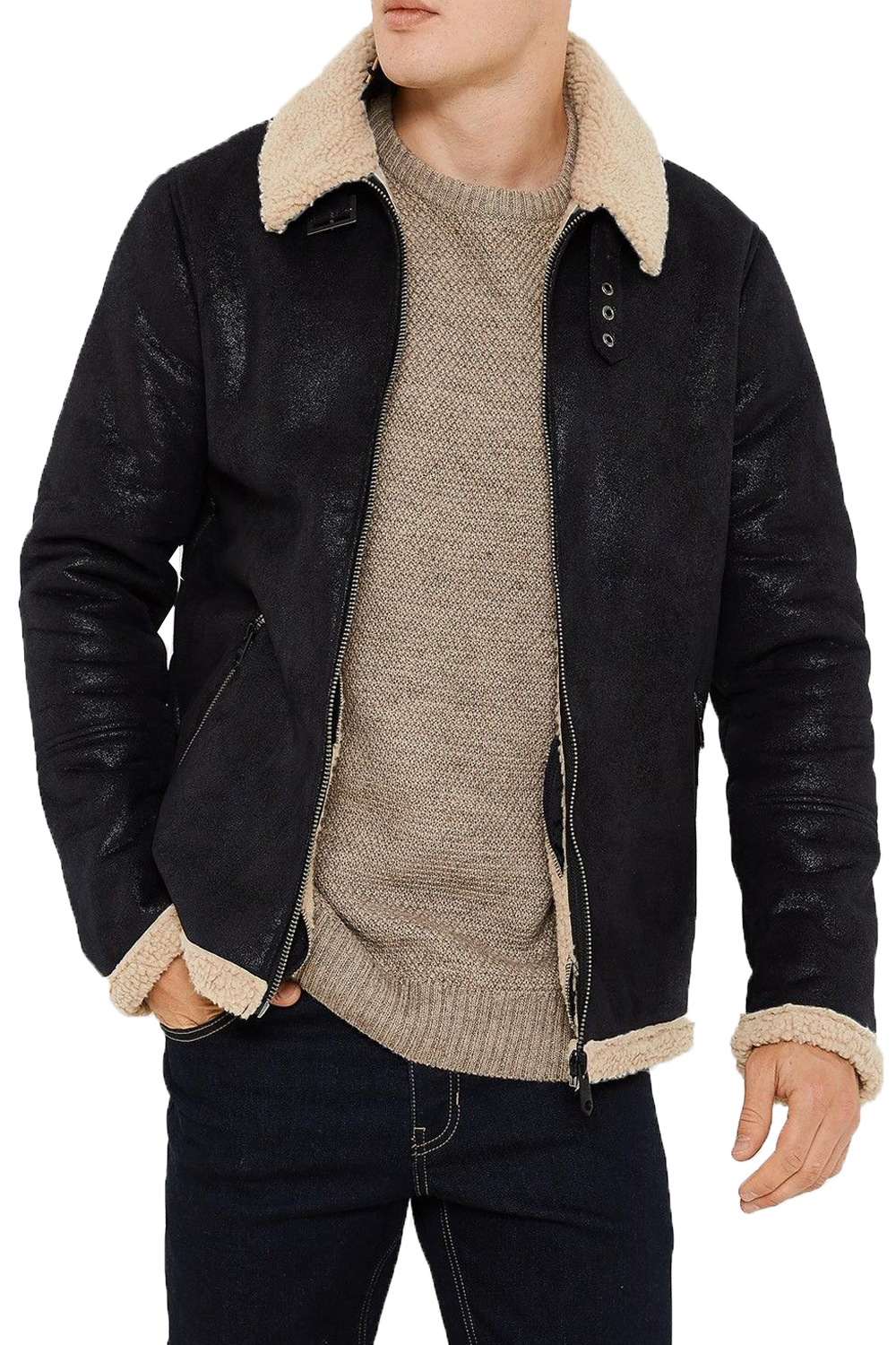 Threadbare Mens Lancaster Vintage Sherpa Fleece Lined Coat Borg ...