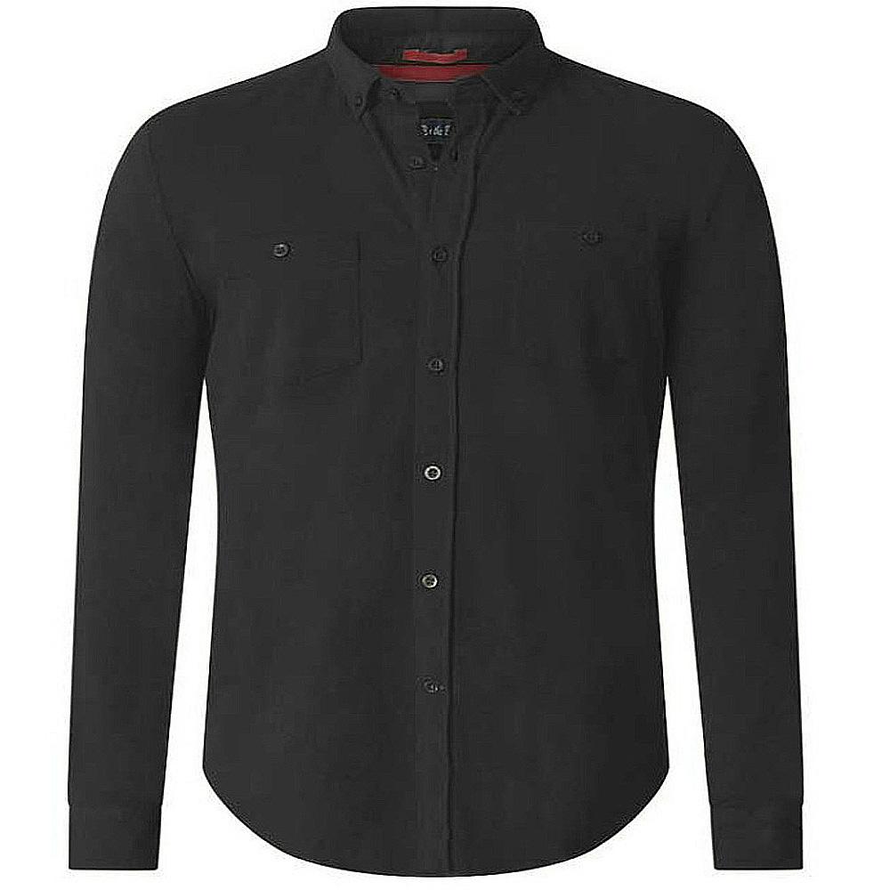 D555 Mens Howard Long Sleeve Polo Shirt Top Button Placket Regular Chest Pocket