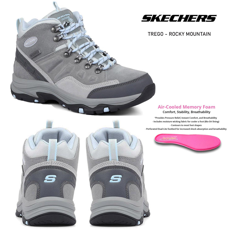 Insignia Envío queso  Skechers Mujer Trego-Rocky Mountain Gris Impermeable Exterior Trek Caminar  Botas   eBay