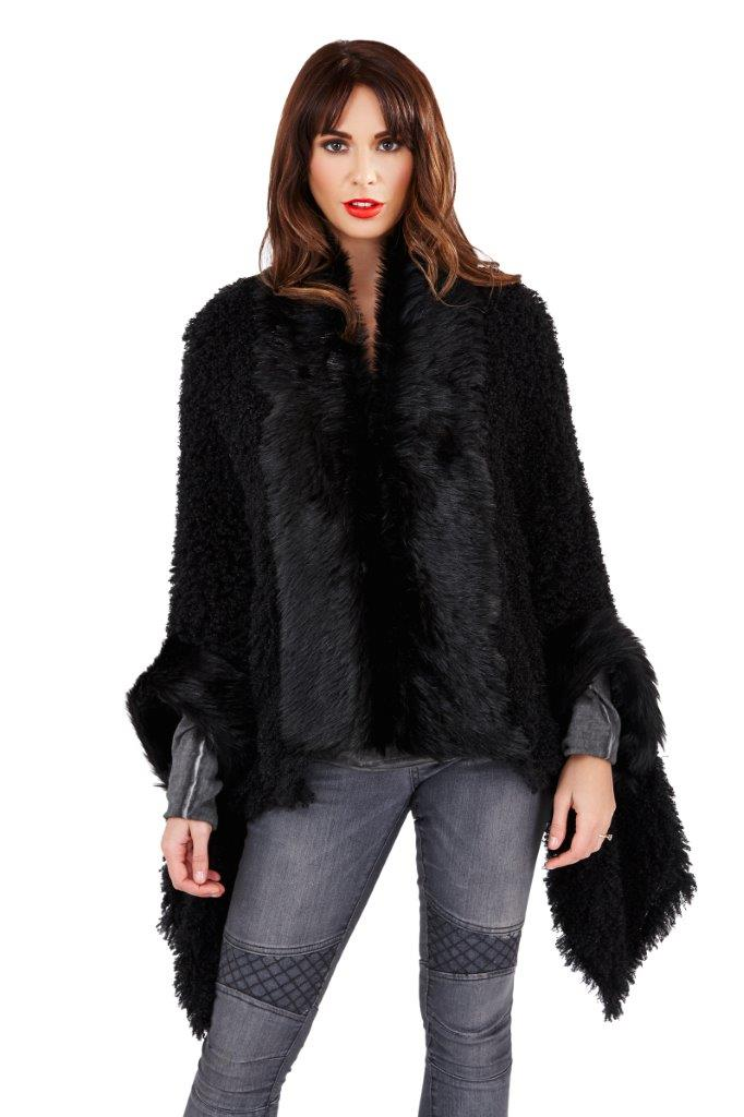 Boutique Womens Faux Fur Cape New Ladies Luxuriously Super ...