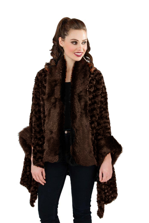 Boutique Womens Faux Fur Cape New Ladies Luxuriously Super ...
