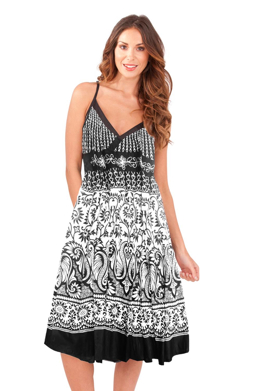 1c72f7e4861 Pistachio Womens Patterned Crossover Dresses Ladies V Neck Cotton ...