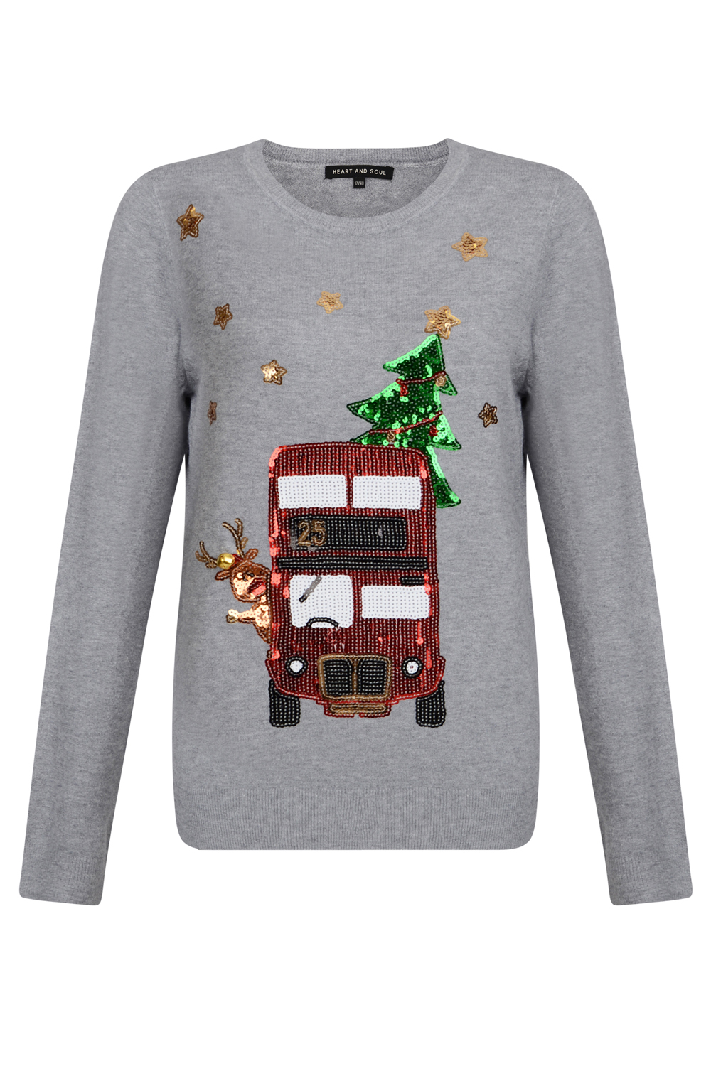 Heart And Soul Womens Sparkly Festive Bus Christmas Jumper