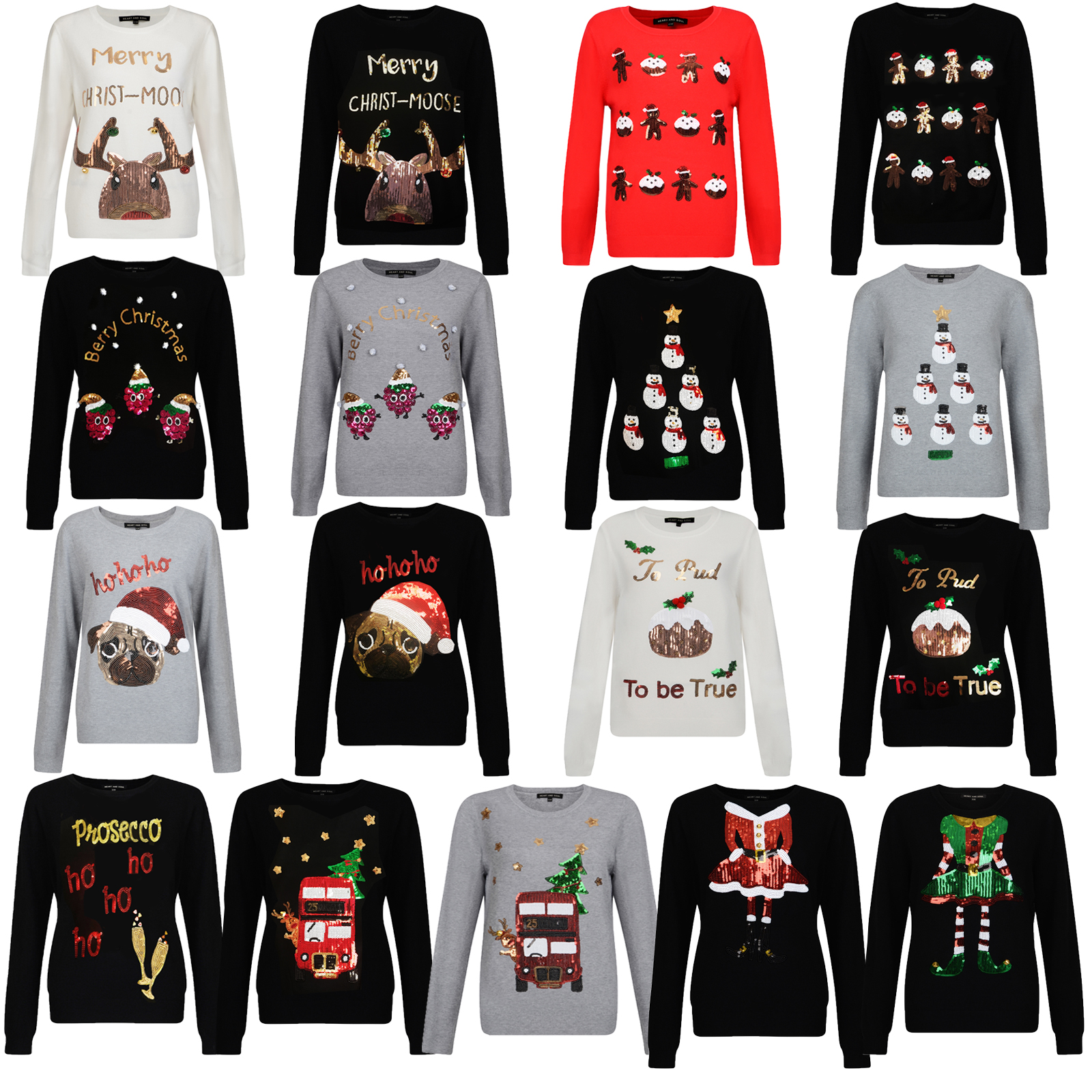 discount up to 60% stable quality how to choose Details about Heart & Soul Womens Sequin Novelty Christmas Jumpers Designer  Knitted Sweater