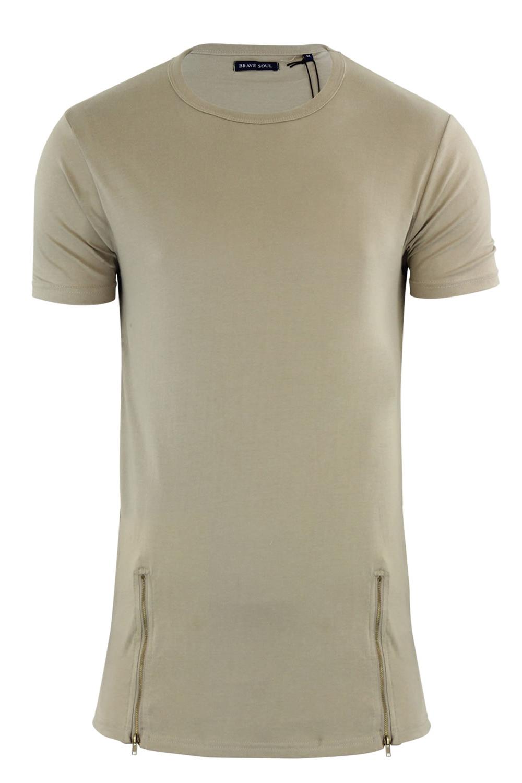 Brave-Soul-Da-Uomo-Falcon-Taglio-Lungo-Designer-T-shirt-di-cerniera-sul-davanti-cotone-Top
